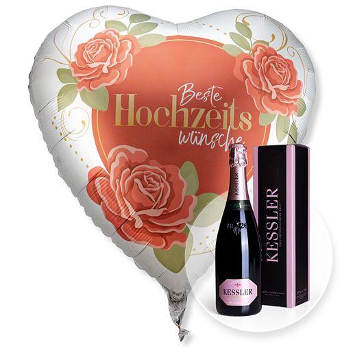 Partybedarfballons - Riesenballon Beste Hochzeitswünsche und Kessler Rose Sekt - Onlineshop Valentins