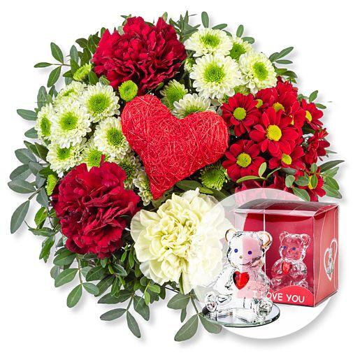 - Herzensgruß und Glasbär mit Herz - Onlineshop Valentins