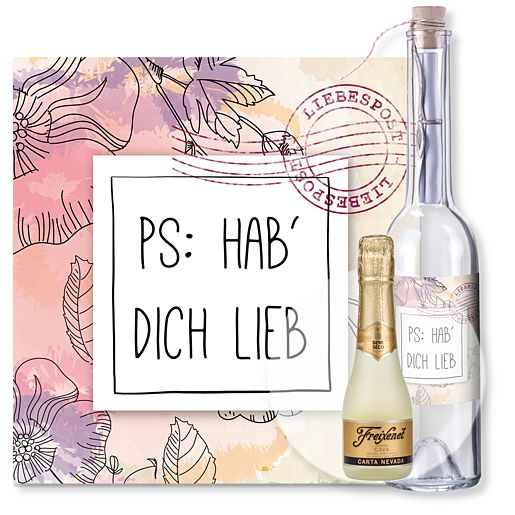 Individuellbesonders - Flaschenpost PS Hab dich lieb und Freixenet Semi Seco - Onlineshop Valentins