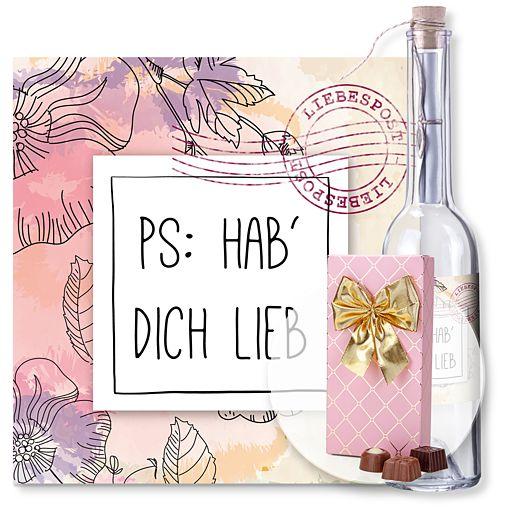 Individuellbesonders - Flaschenpost PS Hab dich lieb und Belgische Pralinen Auslese - Onlineshop Valentins