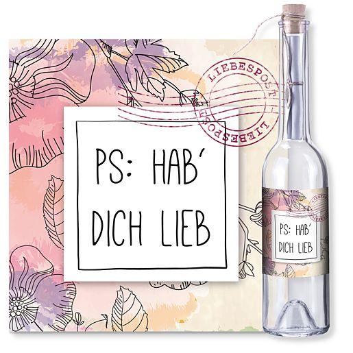 Individuellbesonders - Flaschenpost PS Hab dich lieb - Onlineshop Valentins