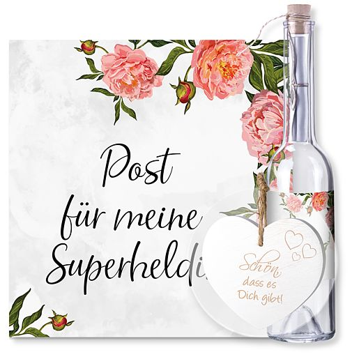 Individuellbesonders - Flaschenpost Superheldin und Vintage Herz Schön, dass es Dich gibt! - Onlineshop Valentins
