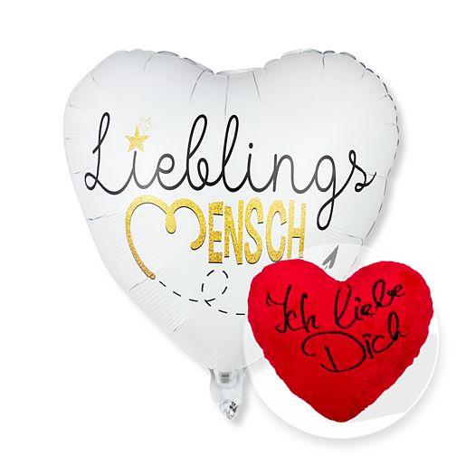 Partybedarfballons - Ballon Lieblingsmensch und Kuschel Herz Ich liebe Dich - Onlineshop Valentins
