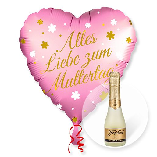 Partybedarfballons - Ballon Alles Liebe zum Muttertag und Freixenet Semi Seco - Onlineshop Valentins