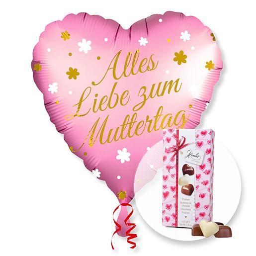 Partybedarfballons - Ballon Alles Liebe zum Muttertag und Herz Pralinen Trio - Onlineshop Valentins