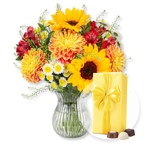 Nützlichblumen - Mein Sonnenschein und Belgische Pralinen - Onlineshop Valentins