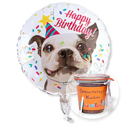 Partybedarfballons - Ballon Happy Birthday Hund und Kuchen im Glas Geburtstag - Onlineshop Valentins