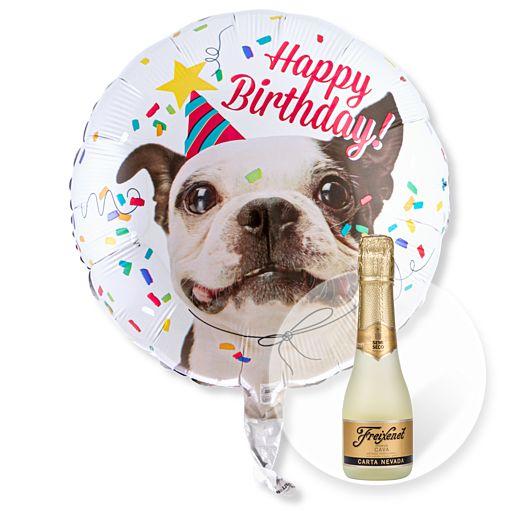 Partybedarfballons - Ballon Happy Birthday Hund und Freixenet Semi Seco - Onlineshop Valentins
