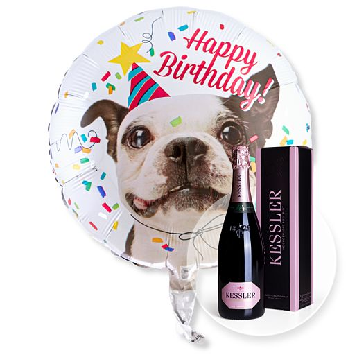 Partybedarfballons - Ballon Happy Birthday Hund und Kessler Rose Sekt - Onlineshop Valentins