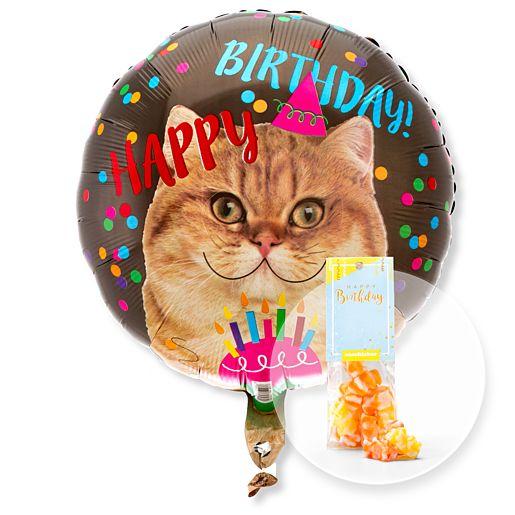 Partybedarfballons - Ballon Happy Birthday Katze und Fruchtgummi Happy Birthday - Onlineshop Valentins