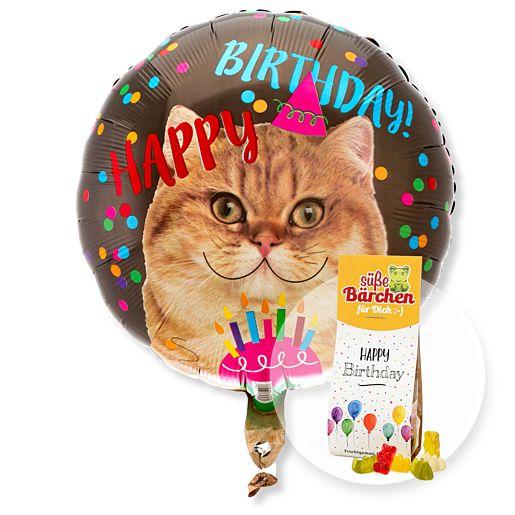 Partybedarfballons - Ballon Happy Birthday Cat und Fruchtsaftbären Happy Birthday - Onlineshop Valentins