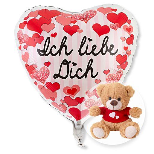 Partybedarfballons - Ballon Ich liebe Dich Herzen und Love Teddy - Onlineshop Valentins
