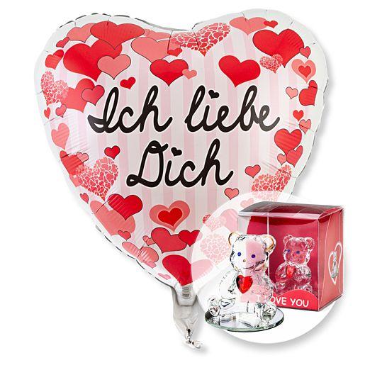 Partybedarfballons - Ballon Ich liebe Dich Herzen und Glasbär mit Herz - Onlineshop Valentins