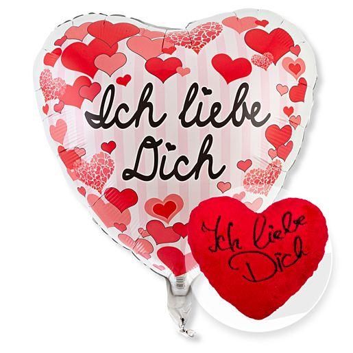 Partybedarfballons - Ballon Ich liebe Dich Herzen und Kuschel Herz Ich liebe Dich - Onlineshop Valentins