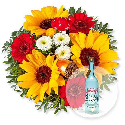 Nützlichblumen - Happy Day und Blaue Glasflasche Happy Birthday mit LED - Onlineshop Valentins