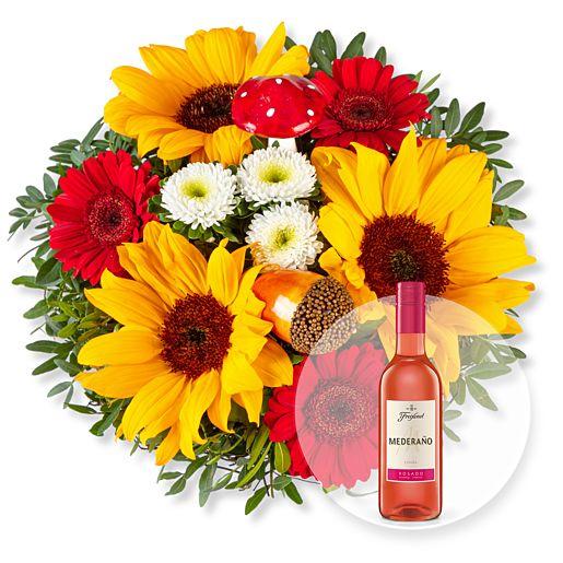Nützlichblumen - Happy Day und Freixenet Mederano Rosado - Onlineshop Valentins