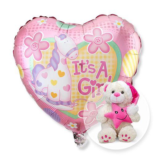 Partybedarfballons - Ballon Babygirl und Plüsch Bär Schlafmütze rosa - Onlineshop Valentins