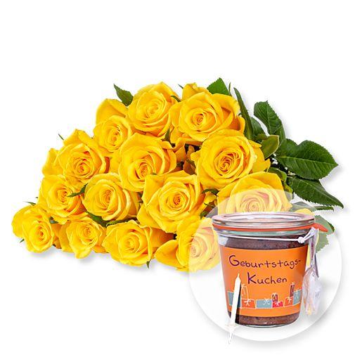 - 15 gelbe Fairtrade Rosen und Kuchen im Glas Geburtstag - Onlineshop Valentins
