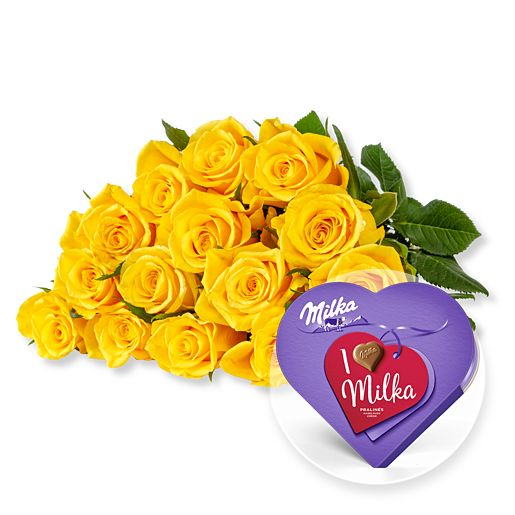 - 15 gelbe Fairtrade Rosen und I love Milka Pralinés - Onlineshop Valentins