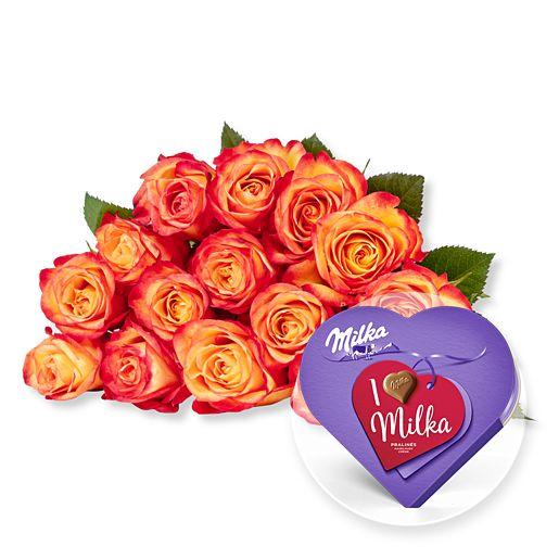 - 15 gelb orangefarbene Fairtrade Rosen und I love Milka Pralinés - Onlineshop Valentins