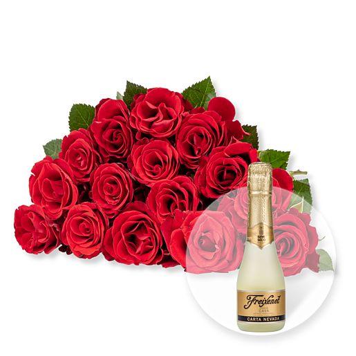 Nützlichblumen - 15 rote Fairtrade Rosen und Freixenet Semi Seco - Onlineshop Valentins