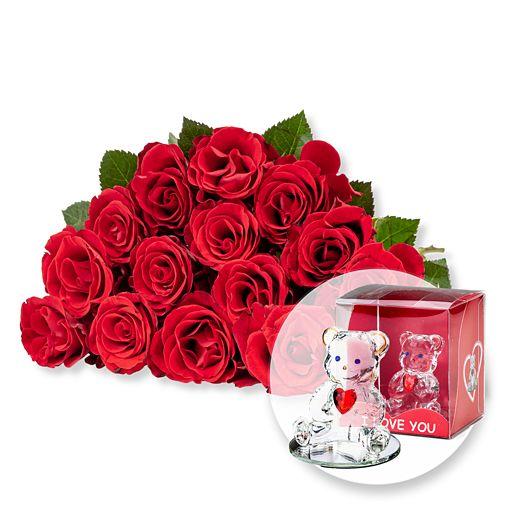 Nützlichblumen - 15 rote Fairtrade Rosen und Glasbär mit Herz - Onlineshop Valentins
