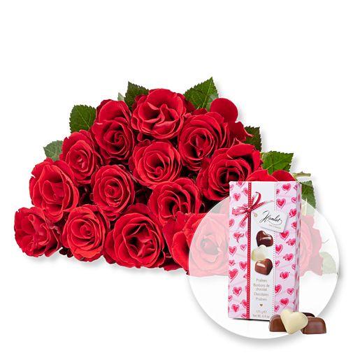 Nützlichblumen - 15 rote Fairtrade Rosen und Herz Pralinen Trio - Onlineshop Valentins