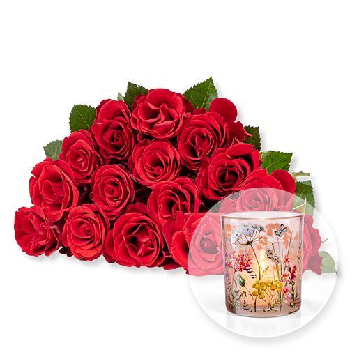 Nützlichblumen - 15 rote Fairtrade Rosen und Windlicht - Onlineshop Valentins