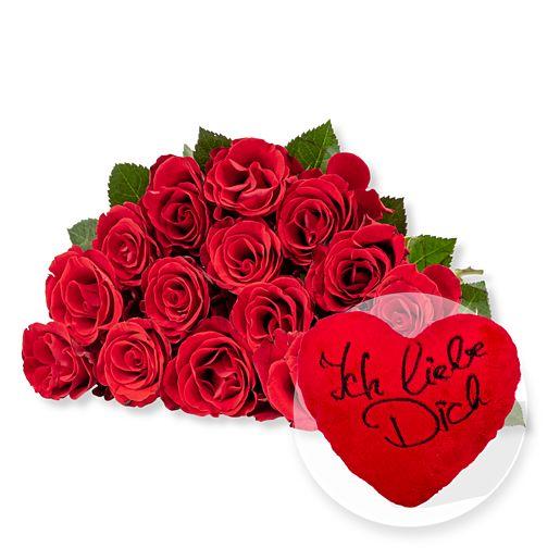 Nützlichblumen - 15 rote Fairtrade Rosen und Kuschel Herz Ich liebe Dich - Onlineshop Valentins