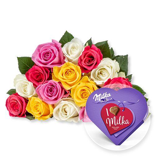 - 15 bunte Fairtrade Rosen und I love Milka Pralinés - Onlineshop Valentins