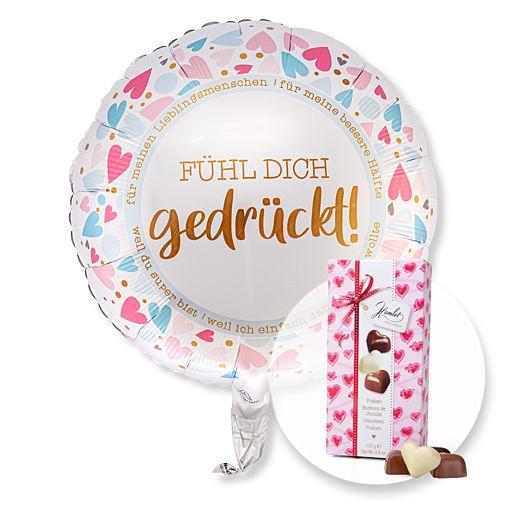 Partybedarfballons - Ballon Fühl Dich gedrückt und Herz Pralinen Trio - Onlineshop Valentins