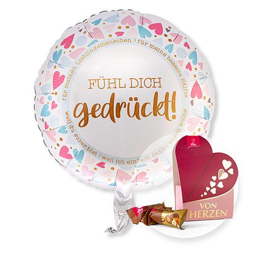 Partybedarfballons - Ballon Fühl Dich gedrückt und Kleiner Gruß Von Herzen - Onlineshop Valentins