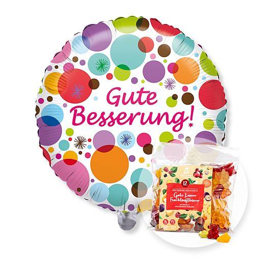 Partybedarfballons - Ballon Gute Besserung! und Gute Laune Fruchtsaftbärchen - Onlineshop Valentins