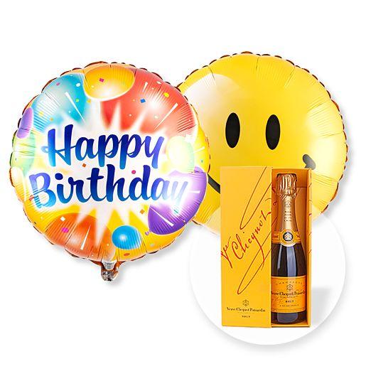 Partybedarfballons - Ballon Set Happy Birthday! und Champagner Veuve Clicquot - Onlineshop Valentins