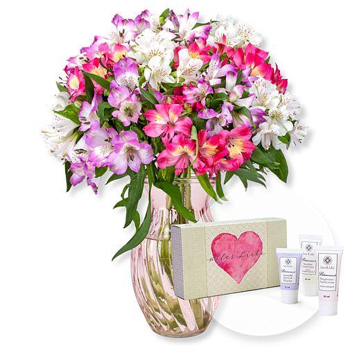 - Ein Strauß voller Zuneigung und Handpflegeset Alles Liebe - Onlineshop Valentins