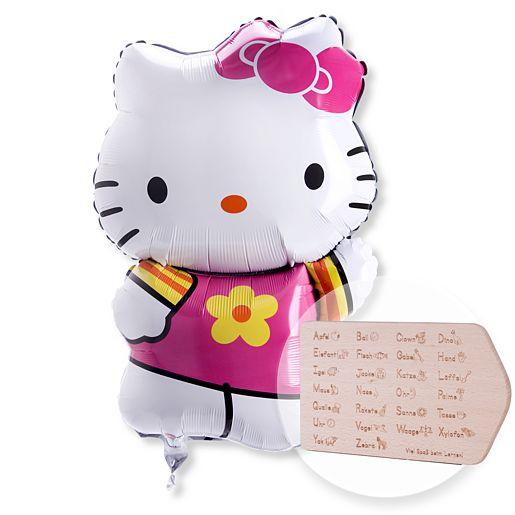 Ballon Hello Kitty und ABC-Frühstücksbrettchen