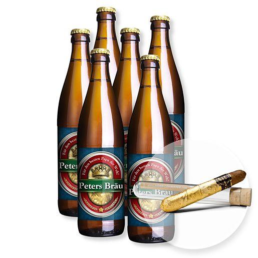 Mein eigenes Bier (6x0,5l) und Cigarre mit 24 Karat Blattgold