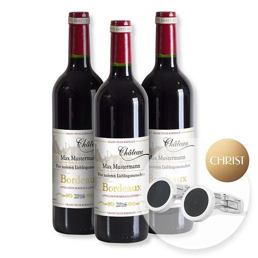 Mein eigener Bordeaux (3x 0,75 l) und CHRIST Steel Manschettenknöpfe rund