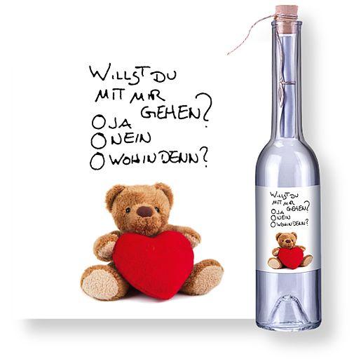 Individuellbesonders - Flaschenpost Teddybär und Glasbär mit Herz - Onlineshop Valentins