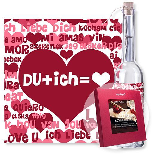 Individuellbesonders - Flaschenpost DU ich und mydays Box Kleine Köstlichkeiten - Onlineshop Valentins