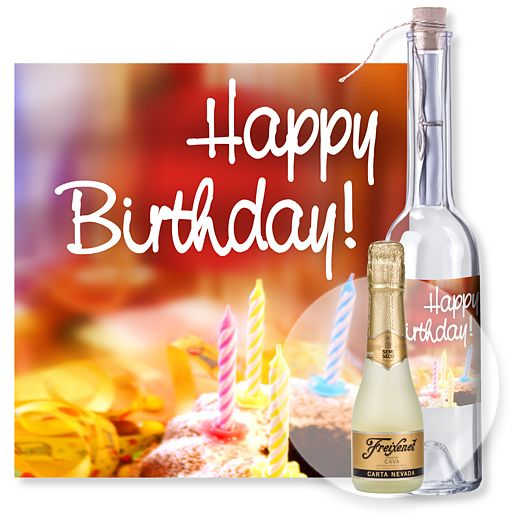 Individuellbesonders - Flaschenpost Happy Birthday und Freixenet Semi Seco - Onlineshop Valentins