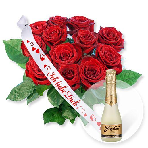 12 langstielige rote Premium-Rosen und Schleife...