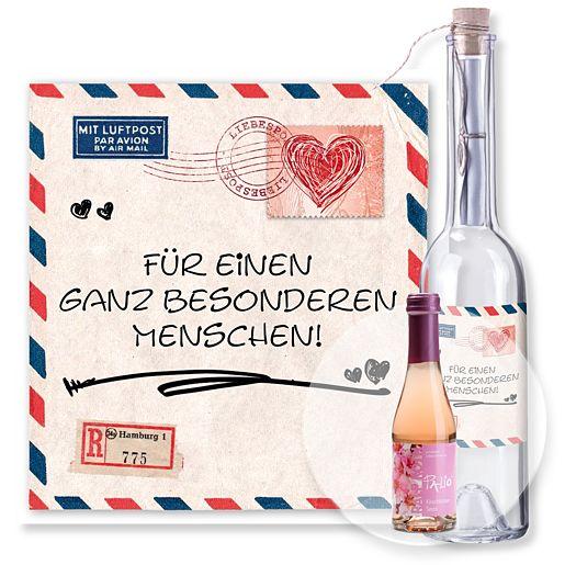 Flaschenpost Airmail und Kirschblüten Secco