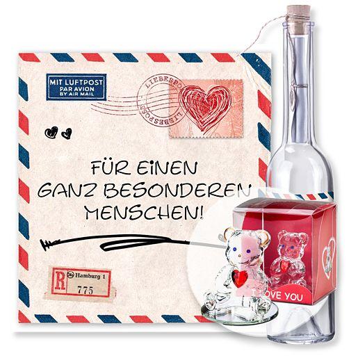 Individuellbesonders - Flaschenpost Airmail und Glasbär mit Herz - Onlineshop Valentins