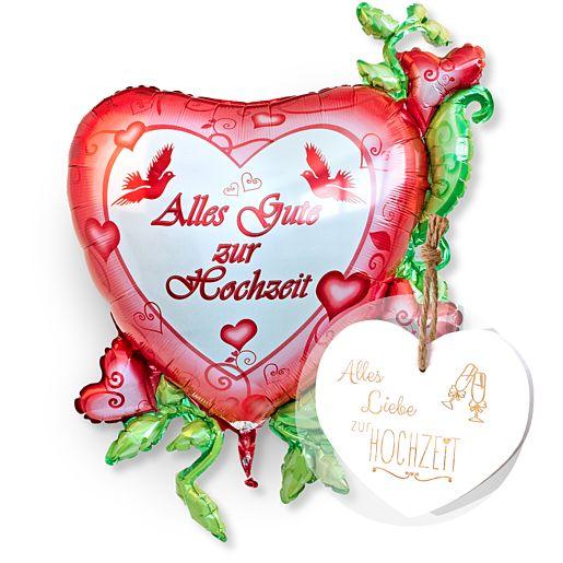 Riesenballon Alles Gute zur Hochzeit und Vintage-Herz Alles Liebe zur Hochzeit
