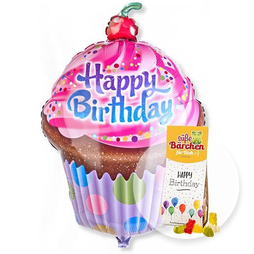 Partybedarfballons - Riesenballon Happy Birthday Cupcake und Fruchtsaftbären Happy Birthday - Onlineshop Valentins
