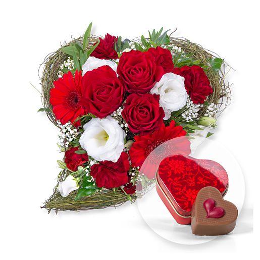Amore und Nougat-Herzpraline in Herzdöschen
