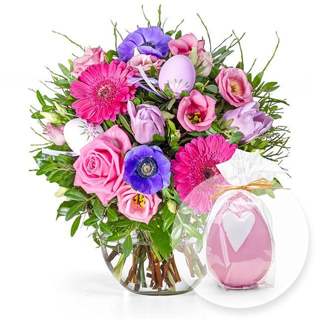 Frohe Ostern und rosa Eikerze