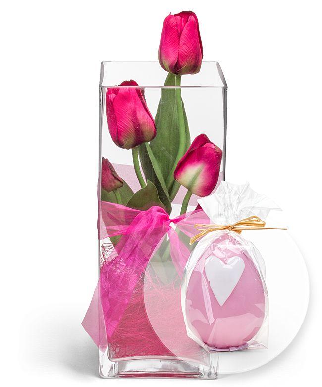 Deko Vase Tulpen Pink 30cm Und Rosa Eikerze Jetzt Bestellen Bei