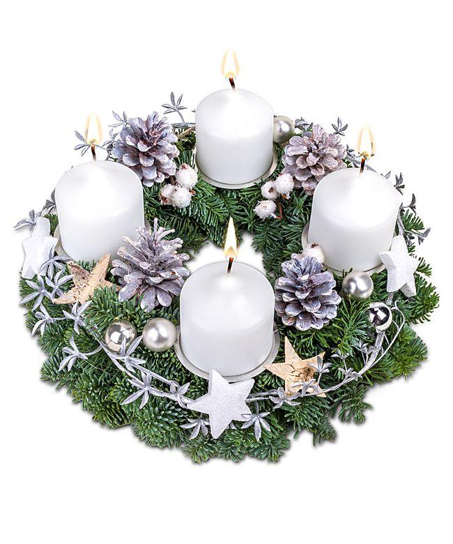 adventskranz wei e weihnacht jetzt bestellen bei. Black Bedroom Furniture Sets. Home Design Ideas